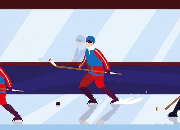 Homme jouant au hockey, joueur de hockey avec bâton de hockey, rondelle de hockey sur glace