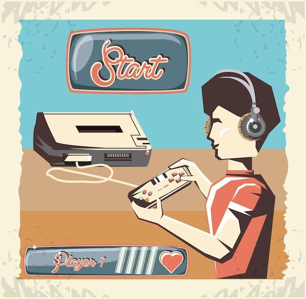 Homme jouant au jeu vidéo rétro vector illustration design