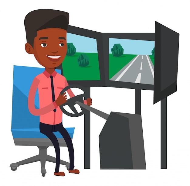 Homme jouant au jeu vidéo avec roue de jeu.