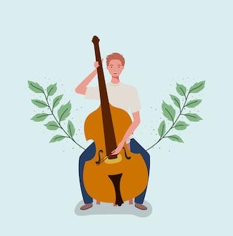 Homme jouant le caractère d'instrument de violoncelle