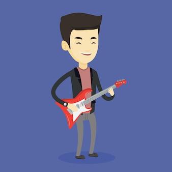Homme jouant de l'illustration de la guitare électrique.