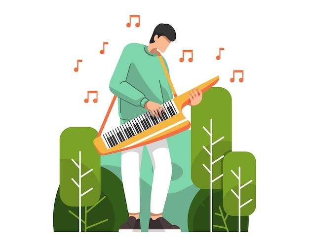 Homme jouant illustration vectorielle keytar