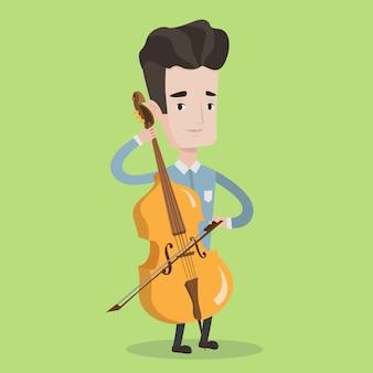 Homme jouant illustration violoncelle.