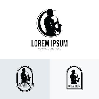 Homme jouant l'inspiration de conception de logo de saxophone