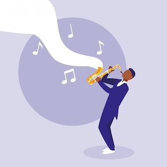 Homme jouant d'un instrument de saxophone