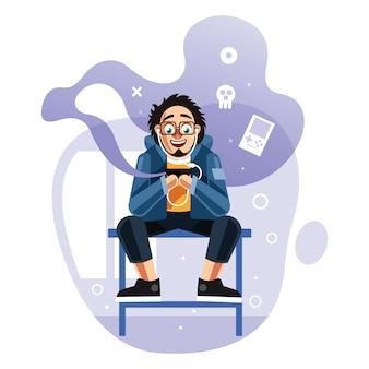 Homme jouant à des jeux sur téléphone mobile