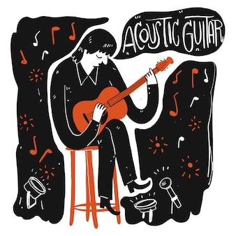 Un homme jouant de la musique. collection de dessinés à la main, illustration vectorielle dans le style de croquis doodle.