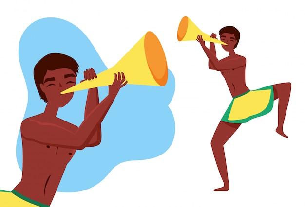 Homme jouant de la trompette