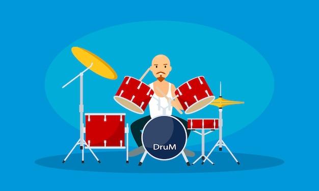 Homme joue de la batterie, style plat