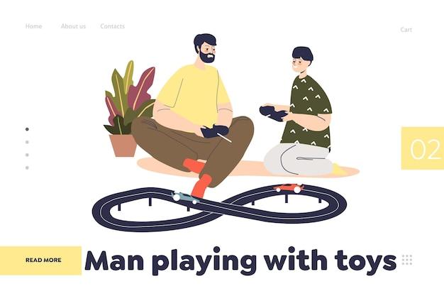 L'homme joue avec le concept de jouets de page de destination avec papa et fils faisant la course avec des voitures télécommandées. le père et le petit enfant tiennent des contrôleurs radio sur des véhicules jouets. plat de dessin animé