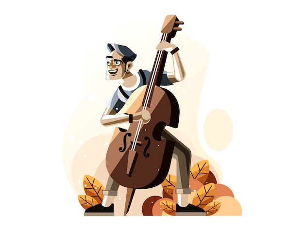 Homme, jouer, contrebasse, illustration