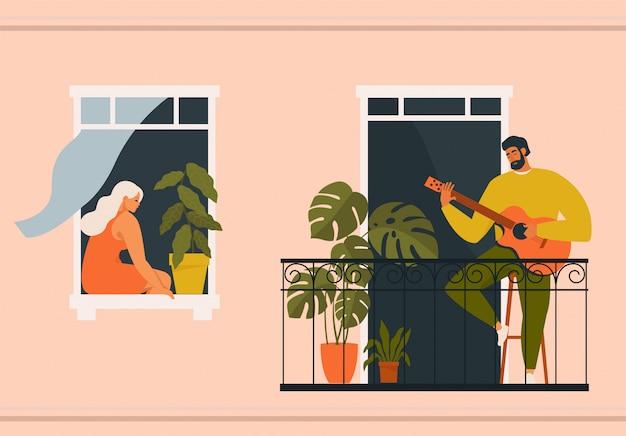 Homme, jouer guitare, sur, balcon, et, femme, écoute, depuis, elle, fenêtre