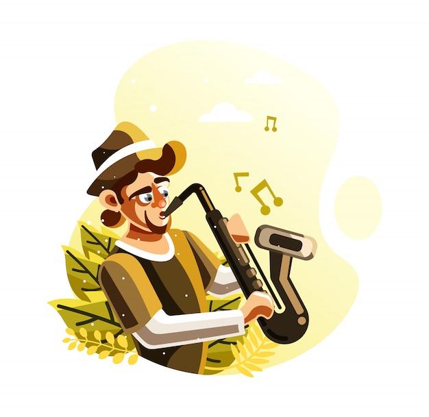 Homme, jouer, saxophone, illustration