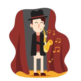 Homme, jouer, saxophone