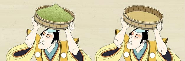 Homme kabuki transportant de la poudre de thé vert dans le style ukiyo-e