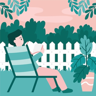 Homme, lecture, jardin, staycation, concept