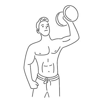 Homme, levage, poids, haltère