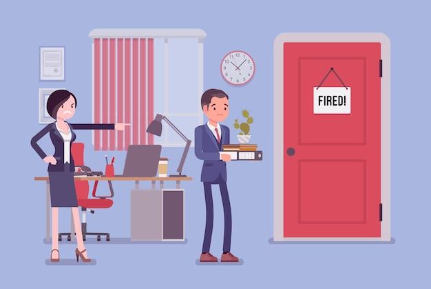 Homme licencié et patron féminin en colère