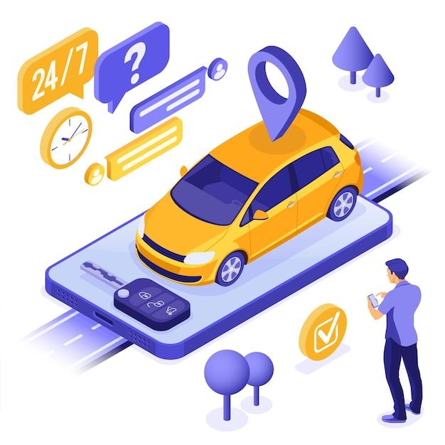 Homme en ligne choisir une voiture pour l'autopartage