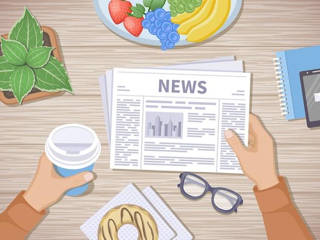 Homme lisant les dernières nouvelles au petit déjeuner. mains humaines tenant du café pour aller et journal, téléphone, fruits, beignet, verres, pot. bon départ le matin avant de commencer la journée de travail. vecteur de vue de dessus