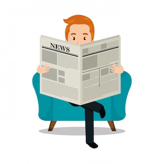 Homme lisant l'icône du journal