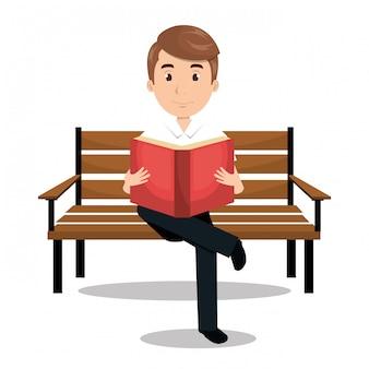 Homme lisant l'icône du manuel