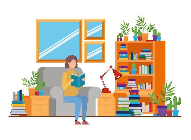 Homme avec livre dans les mains dans le salon