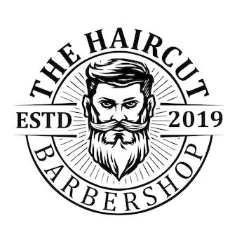 Homme avec logo icône barbu et salon de coiffure