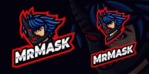 Homme avec le logo de mascotte de jeu de masque pour le streamer et la communauté d'esports