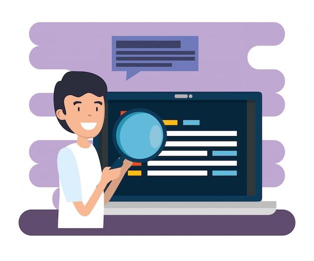 Homme, à, loupe, et, ordinateur portable, information site web