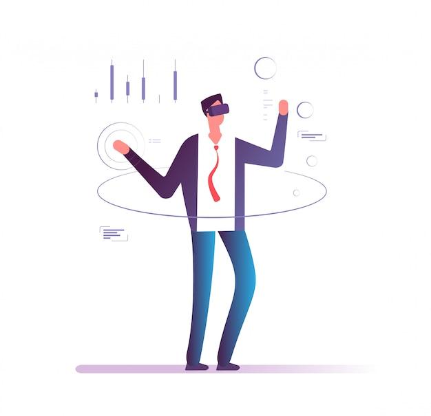 Homme à lunettes casque projection virtuelle interactive du tableau financier