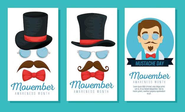 Homme, lunettes, à, chapeau, et, moustache, à, noeud papillon, jeu de cartes
