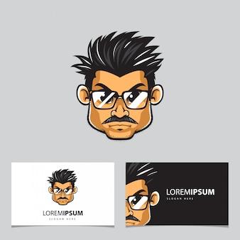Homme à lunettes mascotte et cartes de visite