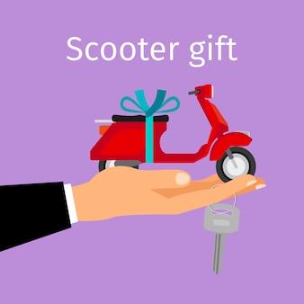 Homme, main, cadeau, scooter