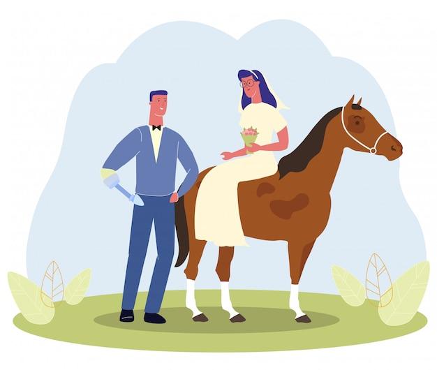 Homme, main, prothèse, mariage, à cheval