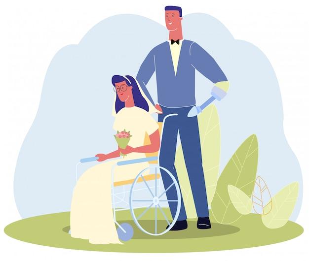 Homme, main, prothèse, mariage, dans, fauteuil roulant