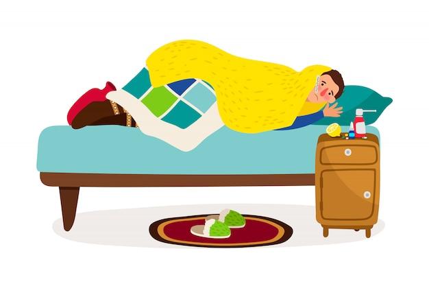 Homme malade au lit.
