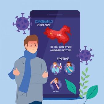 Homme malade dans un smartphone avec des particules de covid19