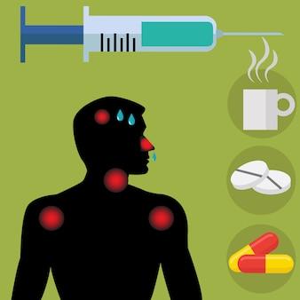 Homme malade, montrant les symptômes vecteur concept