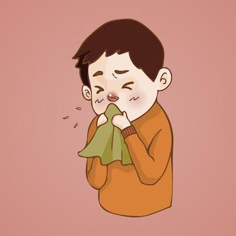 Un homme malade a le nez qui coule