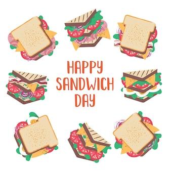 Un homme mange un très gros sandwich vector illustration drôle dans un style cartoon plat