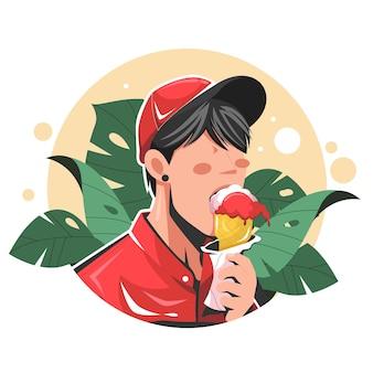 Homme mangeant une illustration de vecteur plat de crème glacée