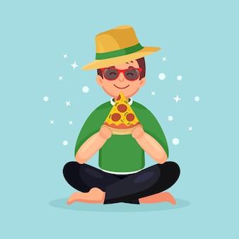 Homme mangeant une tranche de pizza. personnage de dessin animé