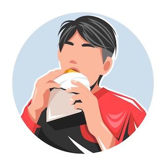 Homme, manger, a, hamburger, plat, illustration