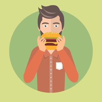 Homme, manger, hamburger
