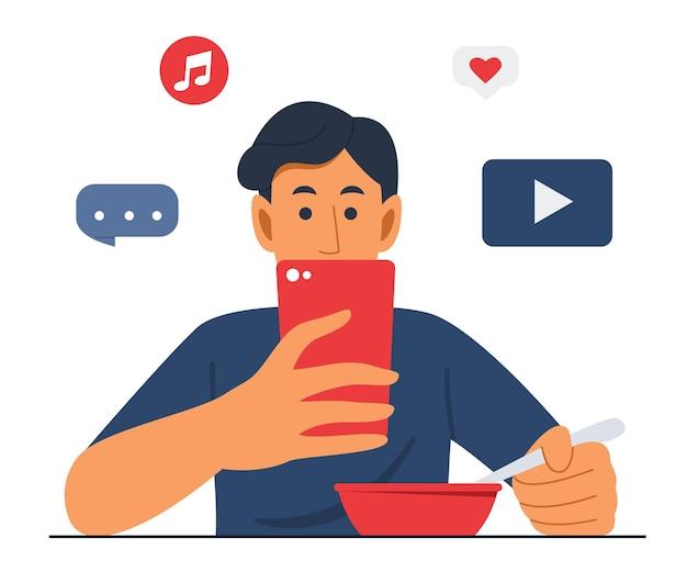 Homme, manger, nourriture, et, regarder téléphone portable