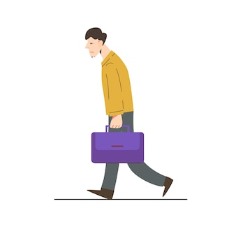 Homme marchant avec une émotion triste