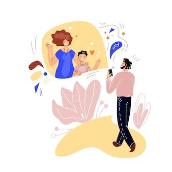 Homme marchant et parlant sur la vidéoconférence en ligne avec la famille, la femme et l'enfant. concept plat de communication en ligne et réunion virtuelle. illustration de chat en ligne smartphone