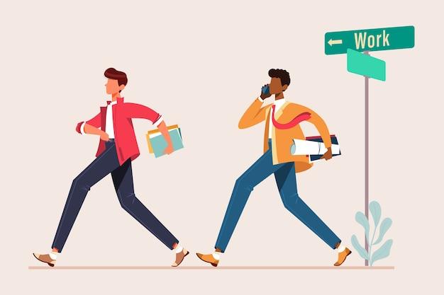 Homme marchant pour travailler