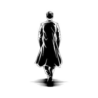Homme marche avec cape vue arrière illustration
